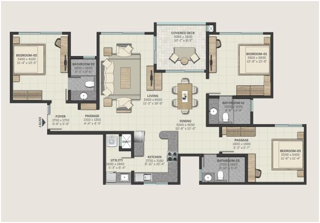 3 BHK floorplan
