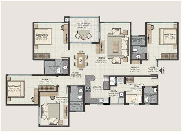 4 BHK floorplan
