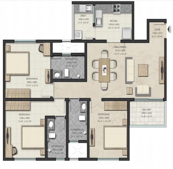 Sobha Royal Pavilion Floor Plan